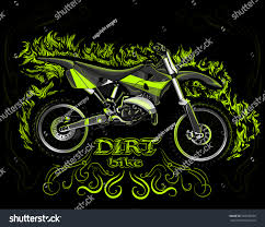 black motocross bike dirt bike on black background green stock vector 328678526