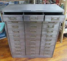 mid century brushed steel metal file cabinet with 30 small drawers