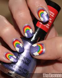 thatleanne rainbow nail art and revlon scented nail polish