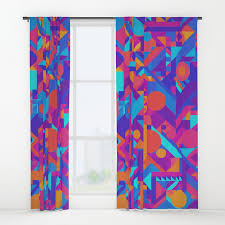 Cool Curtains Geometry Shapes Pattern Print Warm Cool Color Scheme Window