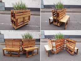 Wooden Pallet Bench R1 Recycles Wooden Pallets Into Interlocking Mobile Benches