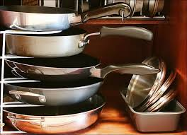 kitchen pan storage ideas kitchen room pot holder rack frying pan stacker lid storage