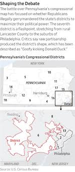map in pennsylvania gop lawmakers submit new map in gerrymandering wsj