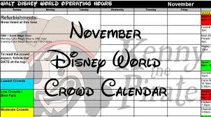 november 2016 disney world crowd calendar and initial park hours