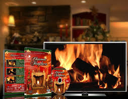 amazon com christmas dvd christmas fireplace with long wood