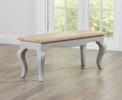 Shabby Chic Bench Parisian 130cm Grey Shabby Chic Dining Table With Benches The