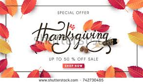 calligraphy thanksgiving day sale banner seasonal stock vector