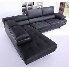 canapé grand angle canapé grand angle en cuir avec têtières réglables vittoria noir