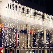 amazon com string lights window curtain 300 led icicle fairy