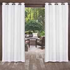 2 Tone Curtains Biscayne Winter White Indoor Outdoor 2 Tone Textured Grommet Top