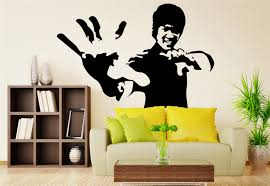 wall decals stickers home decor home furniture diy black bruce lee large porpuler living room wall stickers art decal uk rui105
