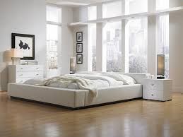 modern bedroom color schemes with modern white master bed and