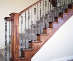 Spindle Staircase Ideas Decor Wrought Iron Spindles Deluxe Staircase With Grey Steps Iron