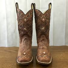 womens size 11 square toe cowboy boots corral s brown glitter square toe boots a3120