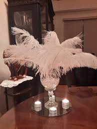 ostrich feather centerpiece ostrich feather centerpiece mirror and bling tealights