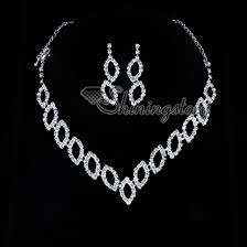 rhinestone necklace earrings images Formal wedding bridesmaid prom rhinestone necklaces and earrings jpg