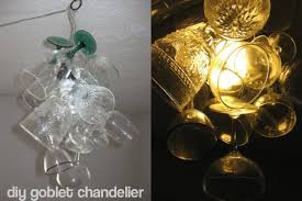 Wine Glass Chandelier Diy Diy Wine Glass Chandelier Dollar Store Crafts
