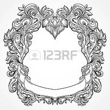 antique border frame engraving with retro ornament pattern