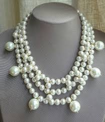 etsy necklace pearl images Large pearl multilayer statement necklace trending pearl bridal jpg