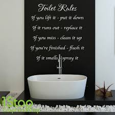 toilet rules wall sticker quote bathroom home wall art decal