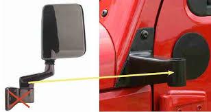 jeep wrangler mirrors tj or yj mirrors on jk relocation brackets jkowners com jeep