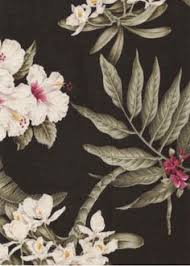 Upholstery Fabric Hawaii Black Green And Pink Large Tropical Flower Upholstery Fabric
