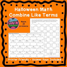 math combine like terms fall activities color by number