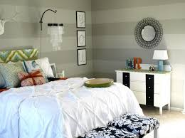 Small Bedroom With Double Bed - inviting small bedroom paint with grey striped walls palette