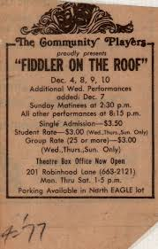 Fiddler On The Roof Synopsis by Fiddler On The Roof 1977 Community Players Theatre