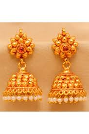 gold earrings for wedding and brass plated copper wedding wear earrings in gold colour