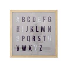 wood framed alphabet wall decor bloomingville