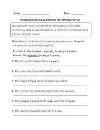 plural possessive nouns worksheets ماهيتاب pinterest