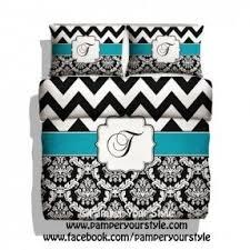 Monogrammed Comforter Sets Blue And Black Damask Bedding Foter