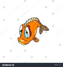 cartoon fish orange color sad face stock vector 461140846