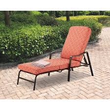 Outdoor Chaise Lounges Mainstays Outdoor Chaise Lounge Orange Geo Pattern Walmart