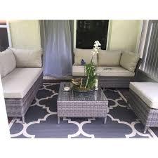 Gray Patio Furniture Sets Corvus Bellanger 4 Piece Grey Wicker Patio Furniture Set Free