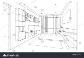 interior design modern style bedroom 3d stock illustration