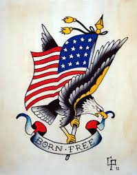 Ripped American Flag Tattoo American Traditional Eagle And Flag Colored Tattoo With Lettering