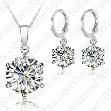 sterling silver necklace sets images 925 sterling silver 8mm jewelry sets cubic zircon crystal lever bac jpg