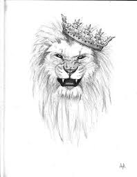 lion crown drawing crowned lion tattoo drawing illustrative