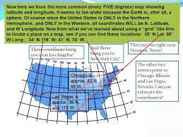 united states map with longitude and latitude cities 6th grade social studies ppt