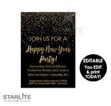 new year u0027s eve party invitation editable instant download black