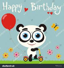 happy birthday funny panda going on stock vector 618604610