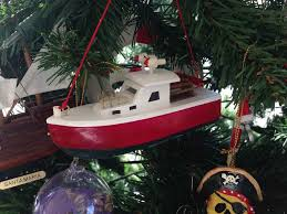 wooden lobster boat tree ornament