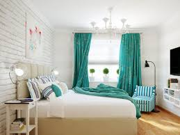 Black And White Wall Decor For Bedroom Classy Bedroom Design With White Paint Wall And Turquoise Curtain