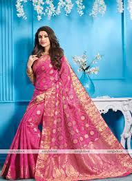 rani pink colour pink colour tussar silk woven saree st093b rani