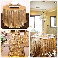 Round Kitchen Table Cloth by Amazon Com Trlyc Round Sparkly Gold Sequin Table Cloth 72 Inch