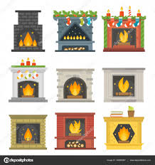 flat style fireplace icon design house room warm christmas flame