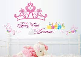 pink princess crown wall sticker girls room headboard wall mural