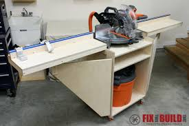 Table Saw Cabinet Plans Mobile Miter Saw Station Part 2 Fixthisbuildthat